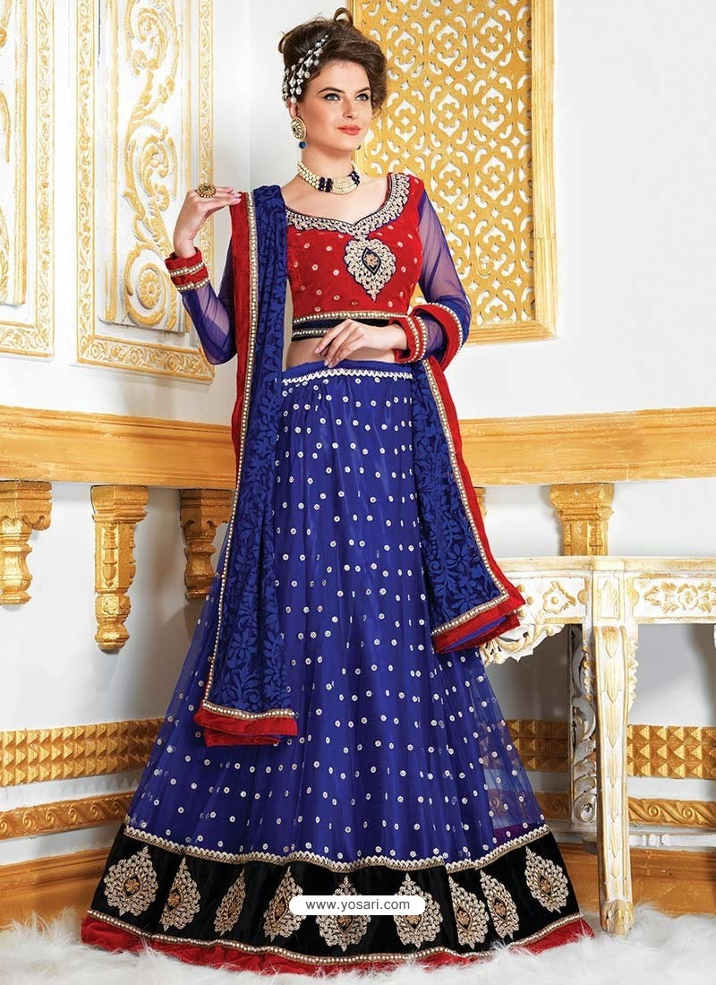 Blue Embroidered Net Lehenga Choli