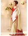 Pretty Lace Work Cream Georgette Designer Saree