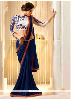 Lordly Blue Embroidered Work Georgette Traditional Saree
