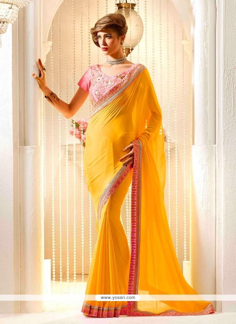 Wonderous Yellow Georgette Designer Traditional Sarees