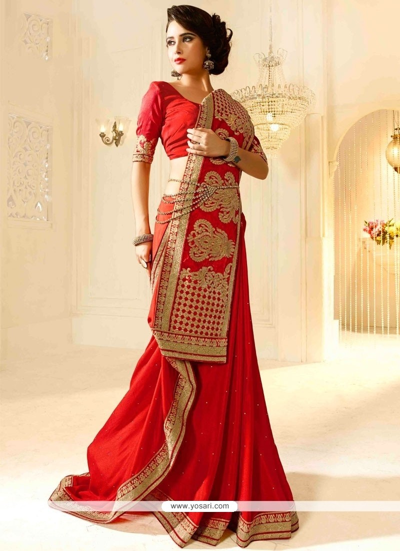 Royal Georgette Red Resham Work Traditional Saree