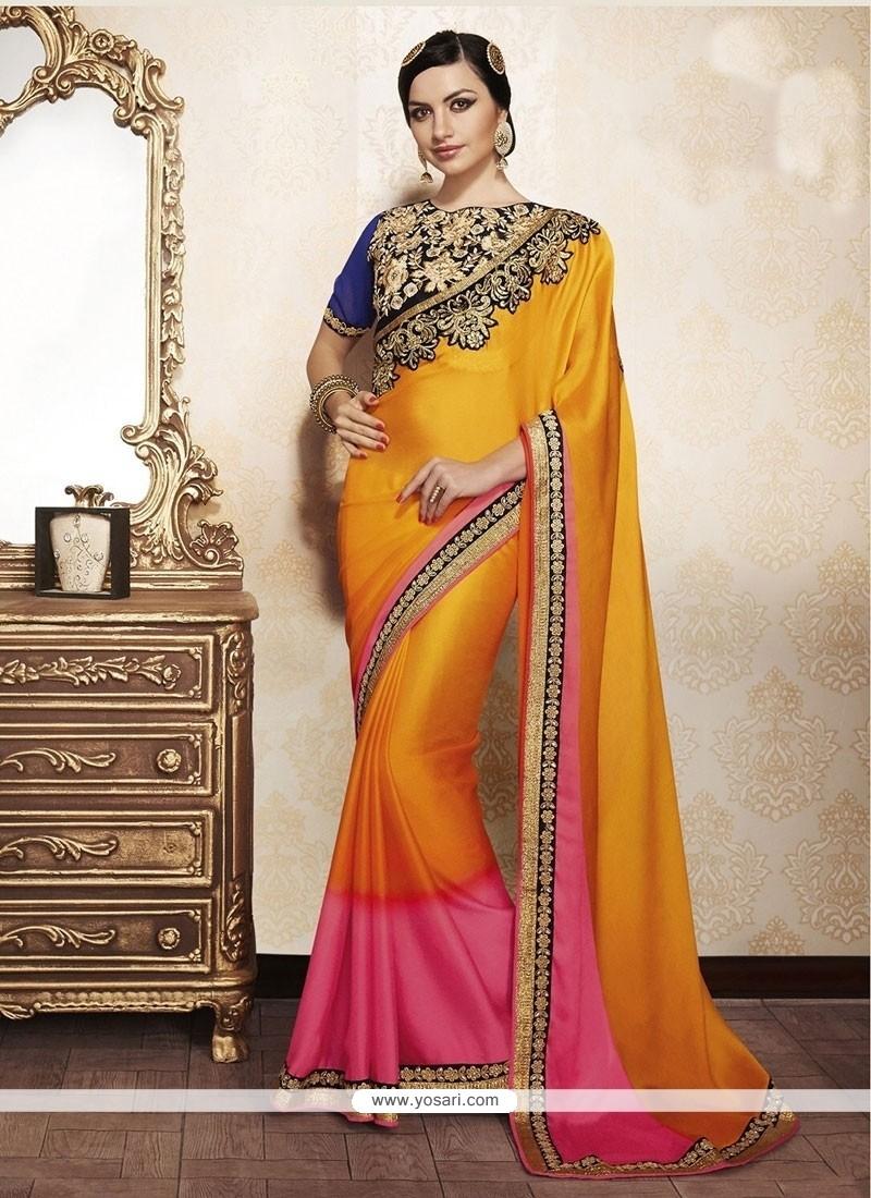 Yellow Zari Work Georgette Designer Saree