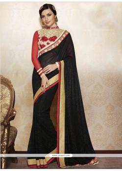 Lustre Resham Work Black Designer Saree
