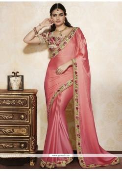 Absorbing Lace Work Pink Designer Saree