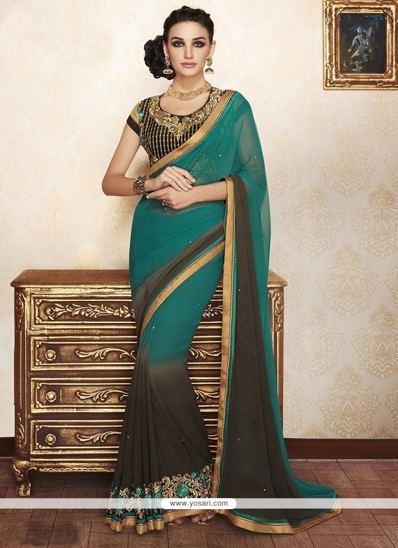 Groovy Green Designer Saree