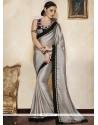 Versatile Grey Satin Designer Saree