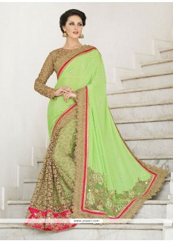 Sea Green Patch Border Work Net Designer Saree