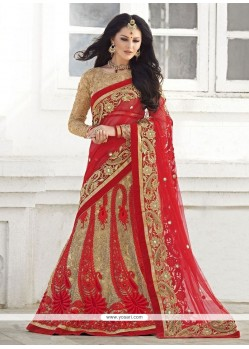 Stylish Red Net Lehenga Saree