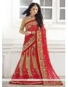 Stylish Red Net Lehenga Saree