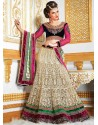 Alluring Beige Embroidered Net Lehenga Choli
