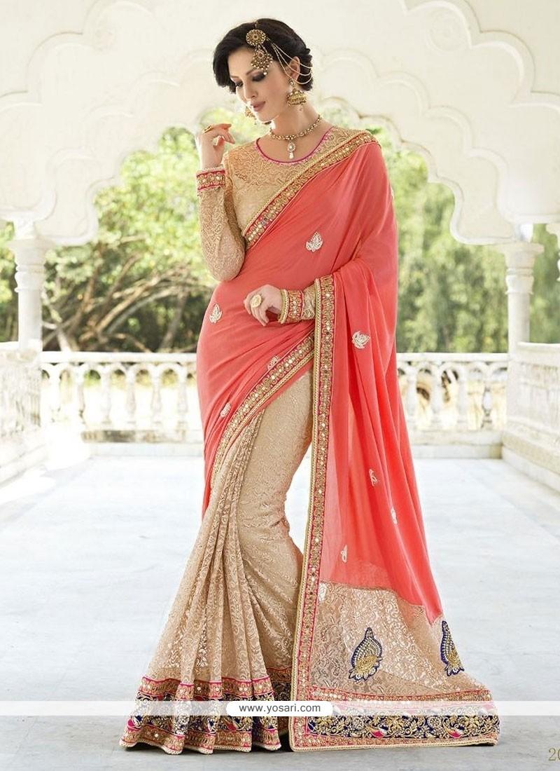 Ravishing Beige Designer Saree