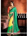 Scintillating Multi Colour Embroidered Work Georgette Designer Saree