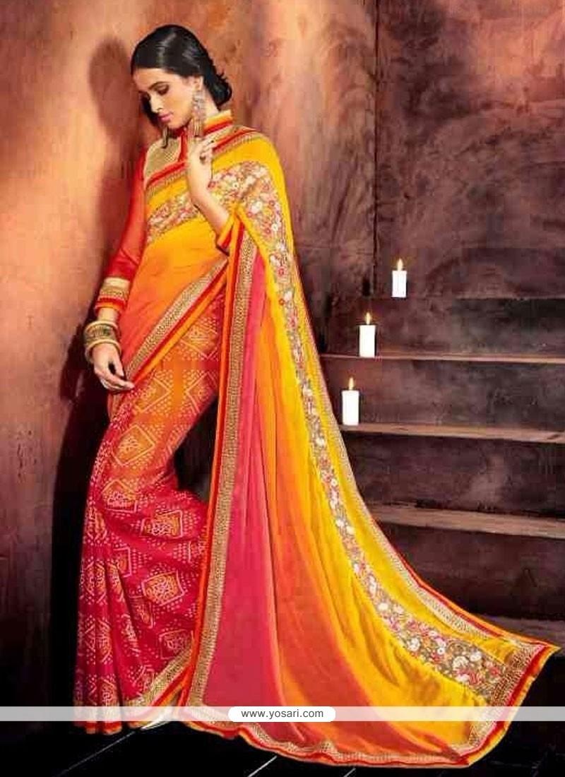 Delectable Multi Colour Aari Work Designer Saree