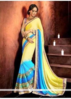 Distinctively Multi Colour Patch Border Work Designer Saree