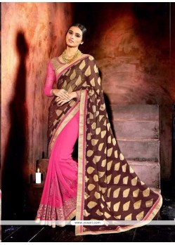 Enchanting Georgette Patch Border Work Designer Saree