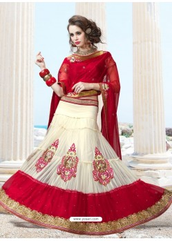 Beautiful Cream And Maroon Net Lehenga Choli