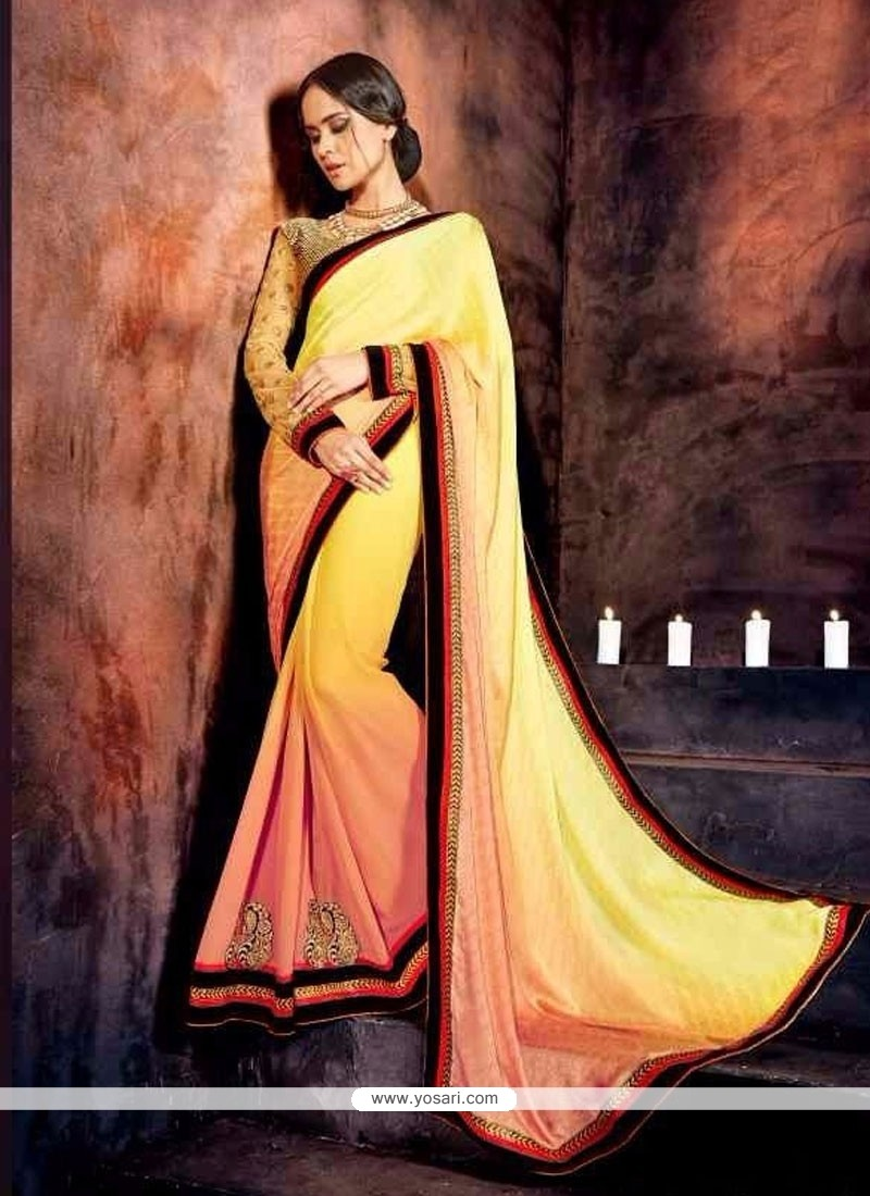 Magnetic Brasso Multi Colour Embroidered Work Designer Saree