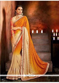 Elite Georgette Patch Border Work Designer Saree