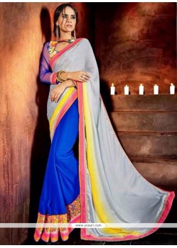Sunshine Faux Chiffon Multi Colour Designer Saree