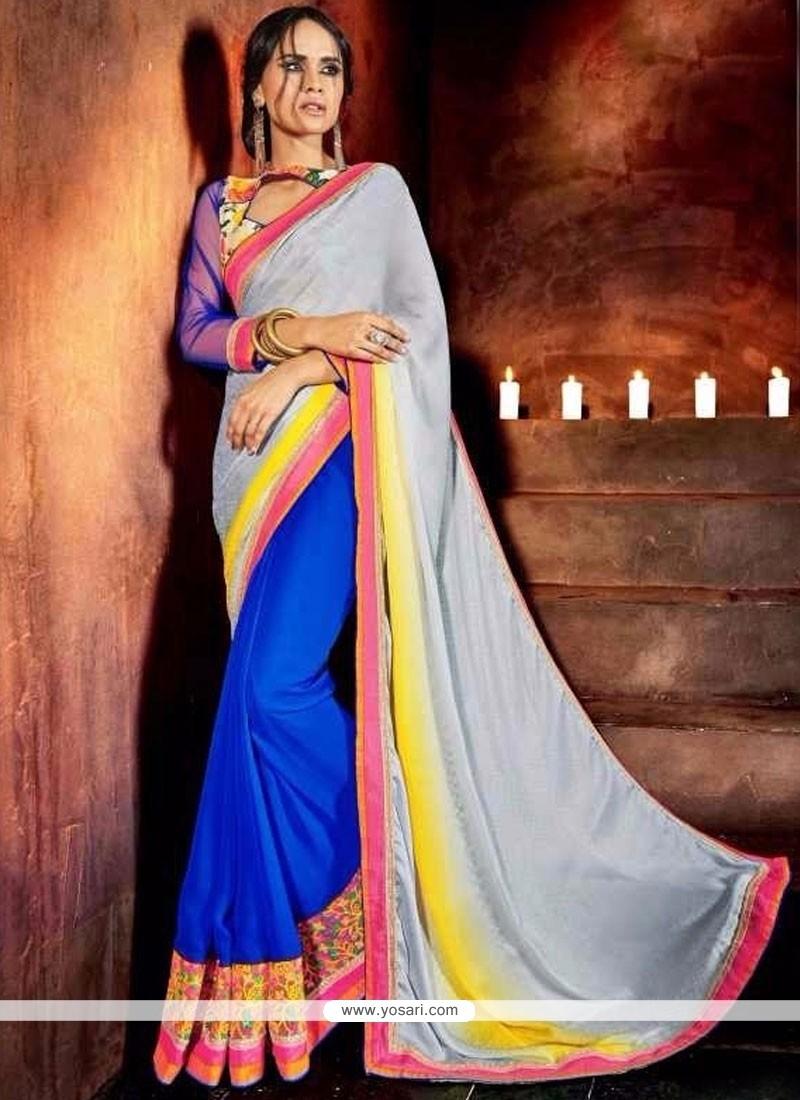 Sunshine Faux Chiffon Multi Colour Designer Saree