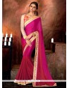 Entrancing Hot Pink Patch Border Work Faux Chiffon Designer Saree