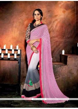 Divine Georgette Patch Border Work Designer Saree