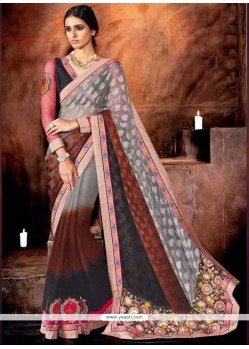Prominent Jacquard Multi Colour Embroidered Work Designer Saree