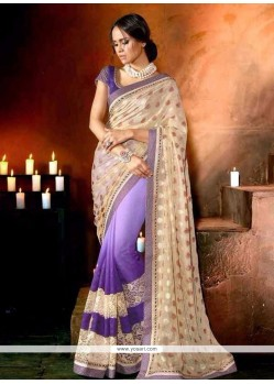Customary Georgette Purple Designer Saree