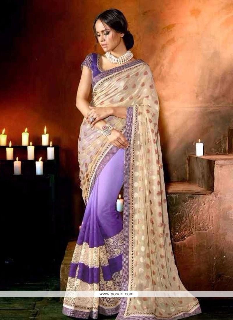 Customary Georgette Purple Designer Saree
