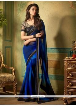 Outstanding Blue Patch Border Work Georgette Designer Saree