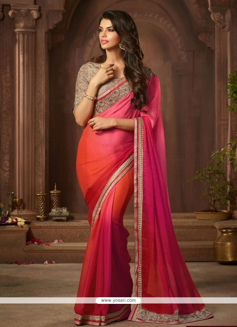 Versatile Hot Pink And Orange Faux Chiffon Designer Saree