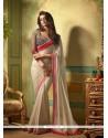 Aristocratic Shimmer Georgette Cream Designer Saree