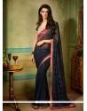 Vivacious Navy Blue Designer Saree