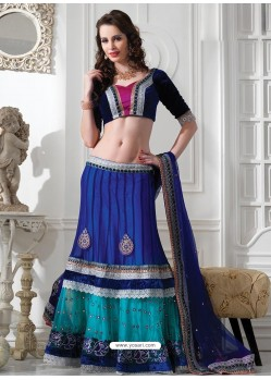 Elegant Blue Appliqued Net Lehenga Choli