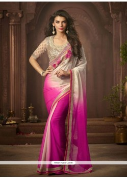 Gorgonize Georgette Hot Pink Designer Saree