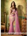 Vivid Pink Shimmer Georgette Designer Saree