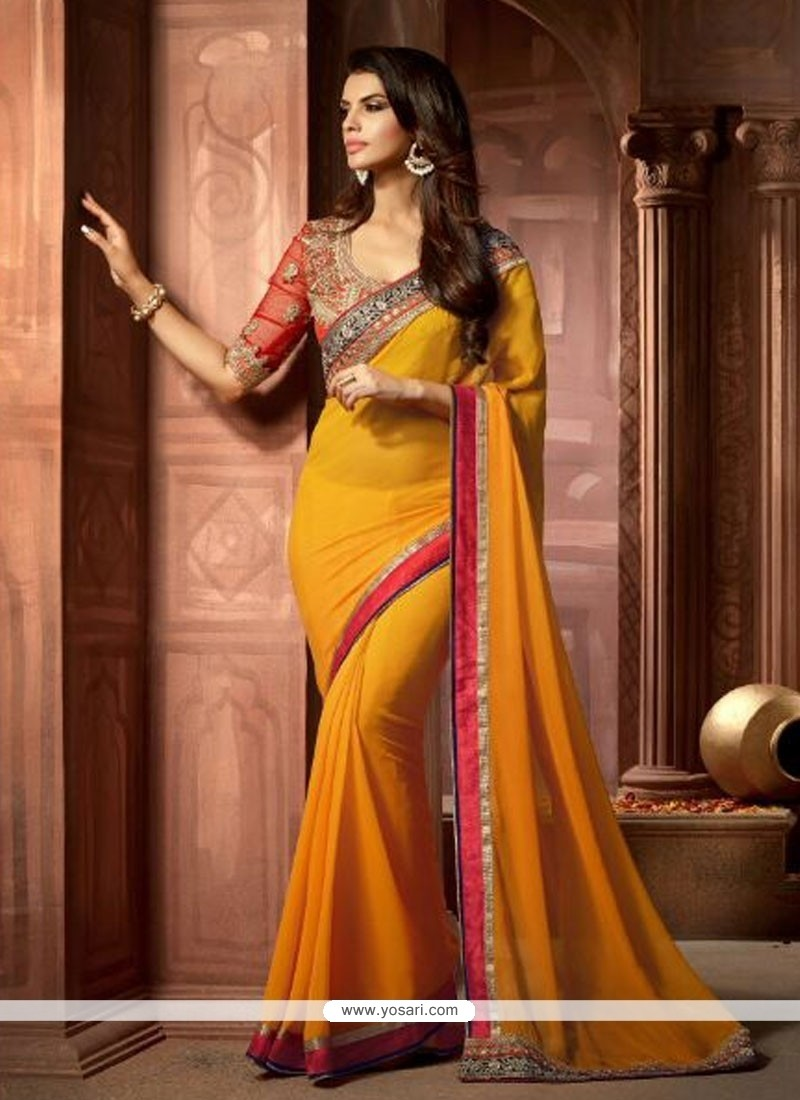 Astonishing Yellow Patch Border Work Designer Saree