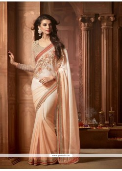 Astonishing Faux Chiffon Cream Designer Saree