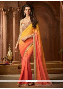 Impressive Georgette Peach And Yellow Embroidered Work Designer Saree