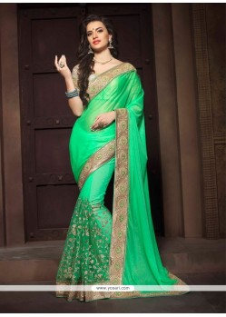 Imperial Net Green Embroidered Work Designer Saree