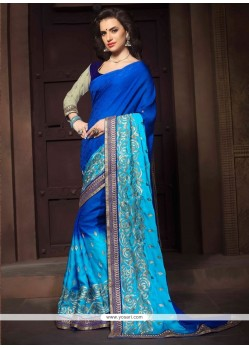 Catchy Jacquard Blue Embroidered Work Designer Saree