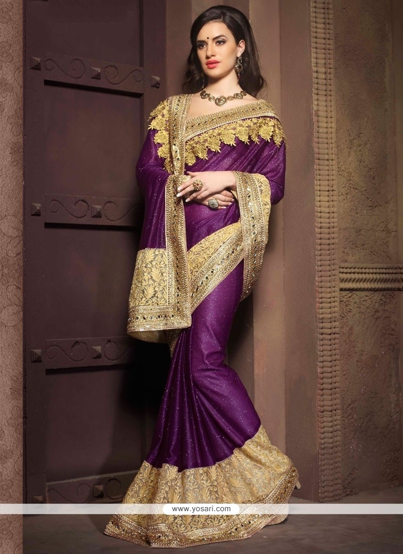 Intricate Georgette Purple Designer Saree