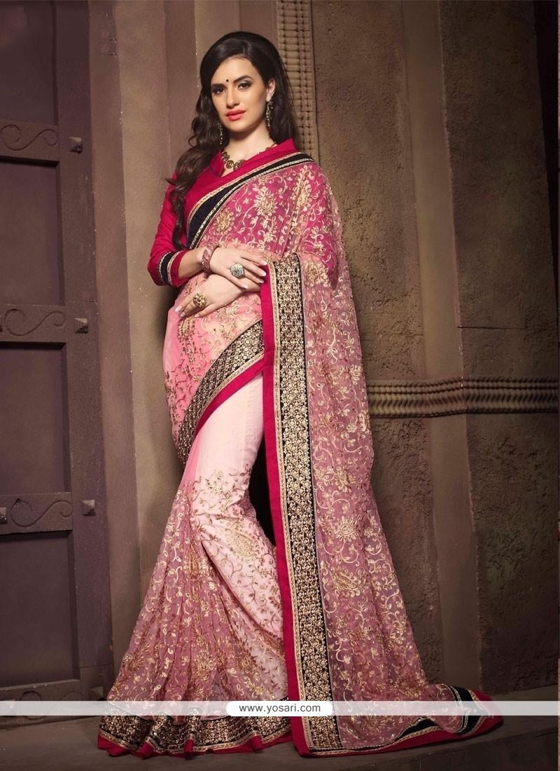 Sparkling Pink Net Designer Saree