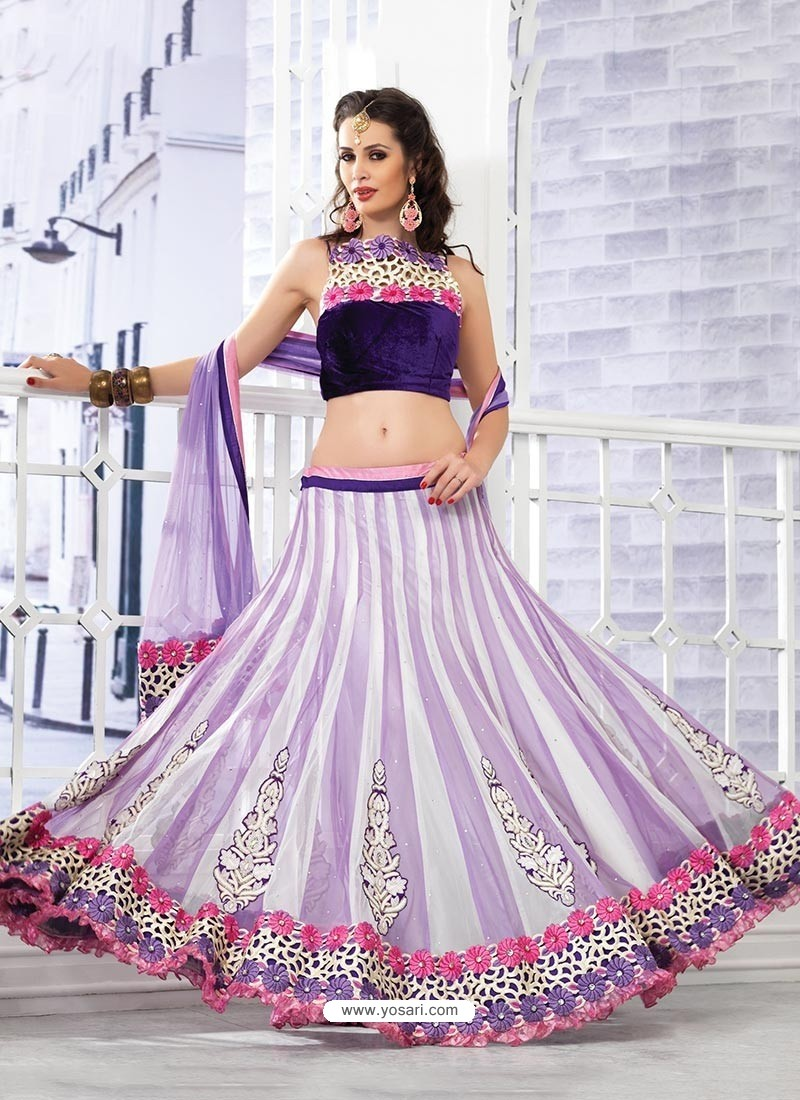 Gorgeous Lavender Appliqued Net Lehenga Choli