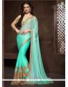 Impressive Patch Border Work Turquoise Designer Saree