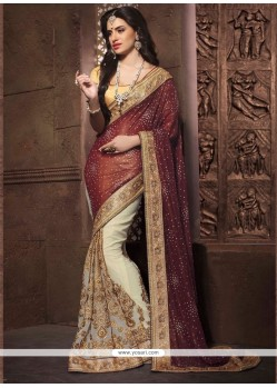 Brown Embroidered Work Georgette Designer Saree