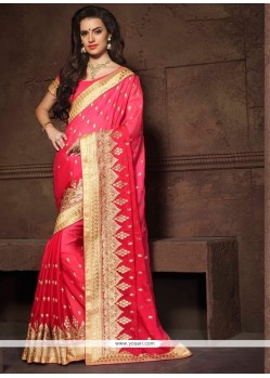 Hot Pink Embroidered Work Faux Chiffon Designer Saree