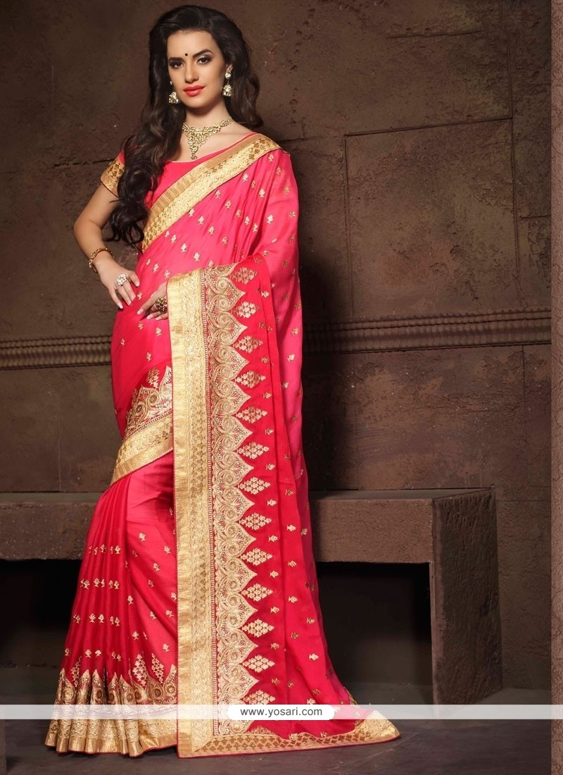 Hot Pink Embroidered Work Faux Chiffon Designer Saree