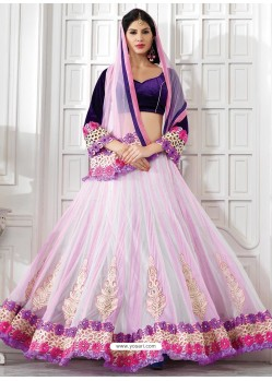 Stylish Pink Appliqued Net Lehenga Choli