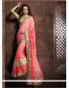 Exquisite Pink Faux Chiffon Designer Saree